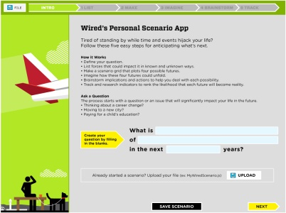 Wired personal scenario planning app