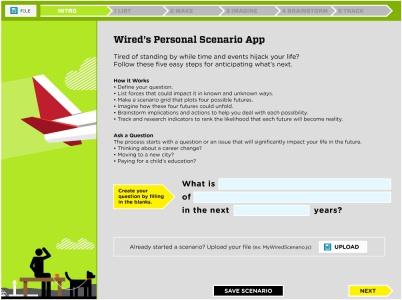 Wired personal scenario planning app